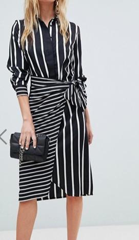Warehouse Mixed Stripe Wrap Front Shirt Dress