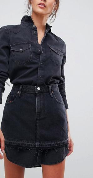 Diesel Denim Shirt Dress with Skirt Overlay