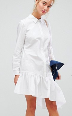 Current Air Asymmetric Shirt Dress with Ruffle