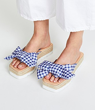 Jeffrey Campbell Gingham Bow Platform Slides