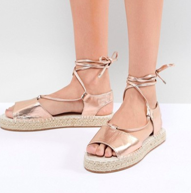 ASOS JUMP ON Tie Leg Espadrille Sandals