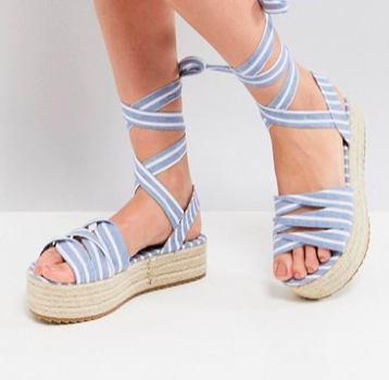 Glamorous Chambray Stripe Ankle Tie Platform Espadrille