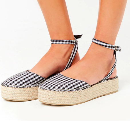 Forever 21 Gingham Espadrille Flatform Sandals