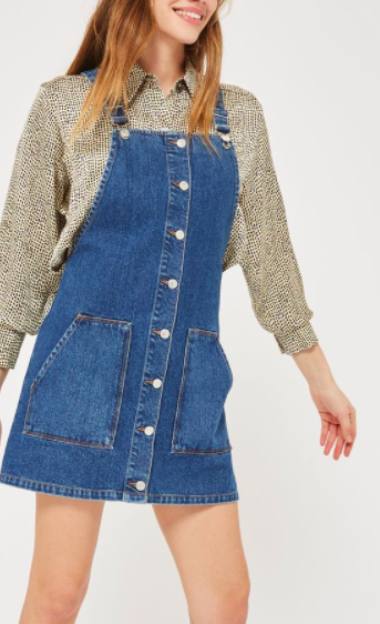 MOTO Button Through Pinafore Dress