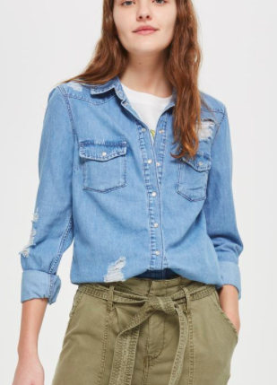 Topshop Ripped Western Denim Shirt