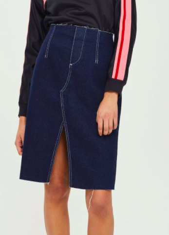 MOTO Raw Waist Midi Skirt