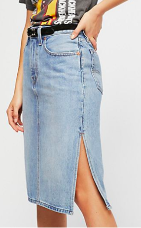Levis Side Slit Denim Skirt