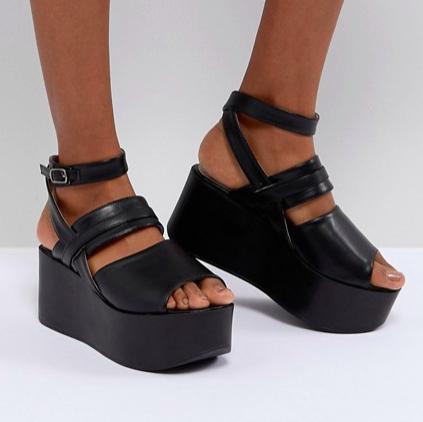 RAID Devona Black Flatform Chunky Sandals