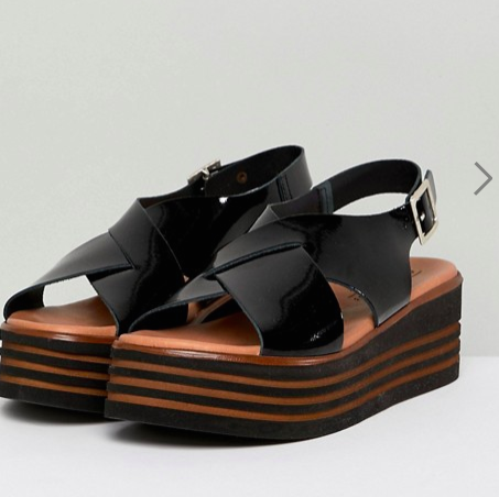 ASOS DESIGN Tornado Leather Patent Flatforms