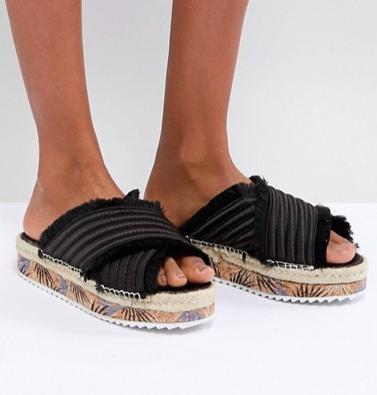 SixtySeven Adiva Black Satin Flatform Sandals