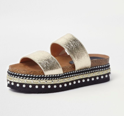 Rover Island Gold metallic embellished flatform sliders