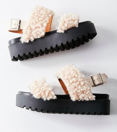 UO Lexi Faux Sherpa Flatform Sandal
