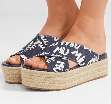 MIU MIU Logo-print denim espadrille platform sandals