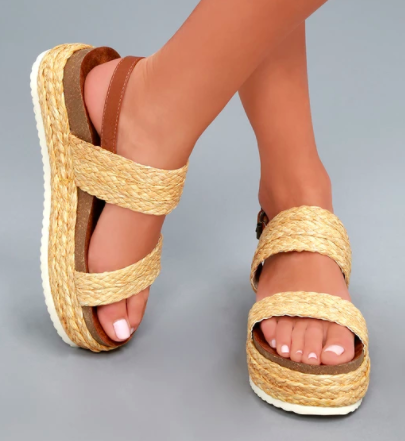 AVA NATURAL RAFIA FLATFORM SANDALS MIA