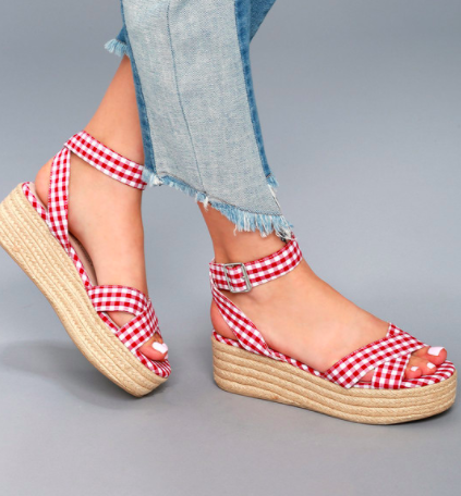ZALA RED AND WHITE GINGHAM ESPADRILLE FLATFORM SANDALS CHINESE LAUNDRY