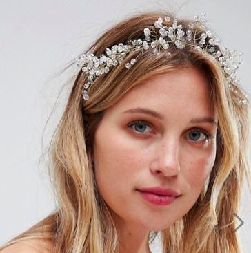 ASOS DESIGN bridal premium crystal wire crown headband