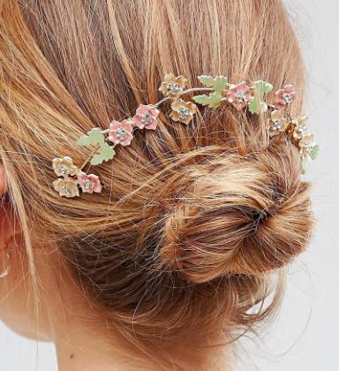 ASOS DESIGN Pastel Floral Metal Back Hair Clip