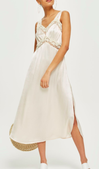 Topshop Lace Satin Midi Slip Dress