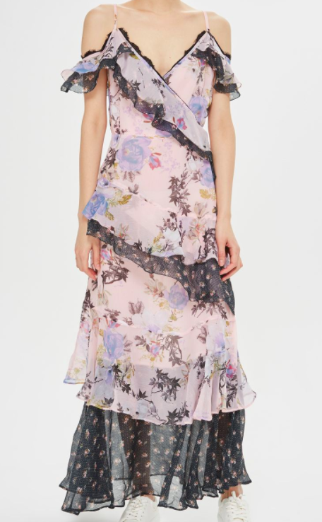 Topshop Lace Trim Maxi Dress