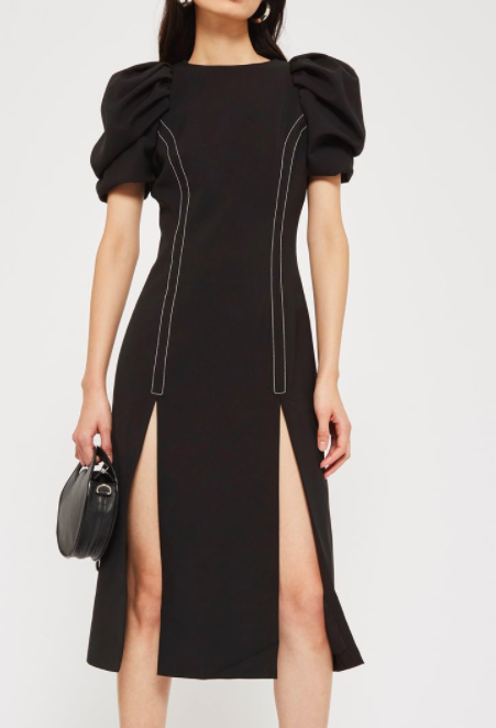 Topshop Puff Sleeve Midi Shift Dress by Style Mafia