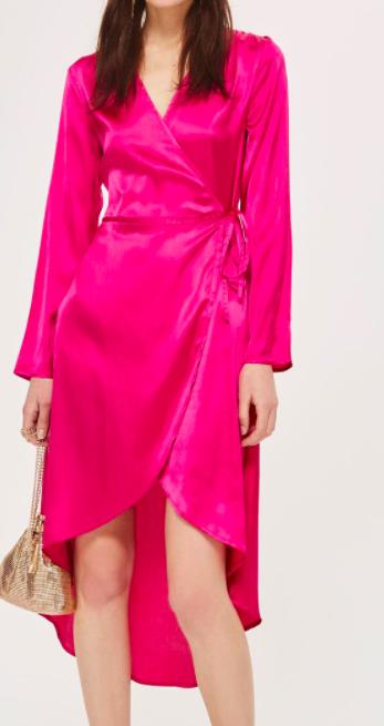 Topshop Satin Kimono Robe Wrap Dress