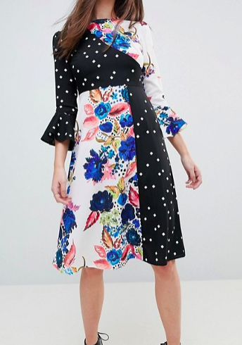 ASOS Spot and Floral Midi Dress With Fluted Sleeve