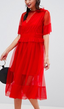 ASOS Tulle Midi Dress with Ruching