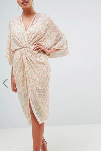ASOS DESIGN Midi Plunge Embellished Kimono Dress