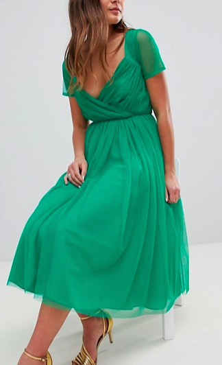 ASOS Tulle Midi Dress with Sheer Sleeve