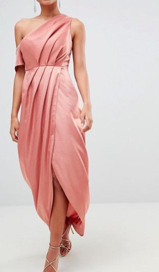 ASOS Hammered Satin One Shoulder Maxi Dress