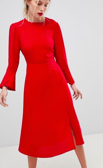 ASOS Fluted Sleeve Midi Dress