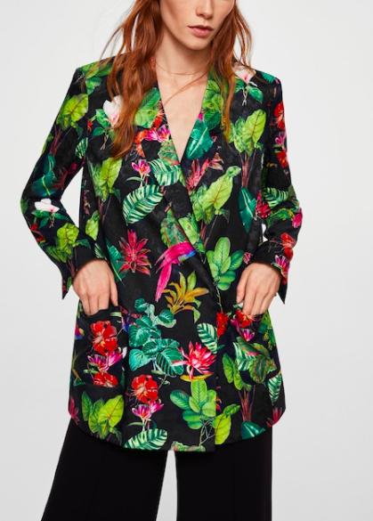 MANGO Tropical print blazer
