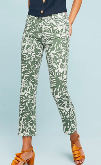 Pilcro Tropical High-Rise Cropped Bootcut Jeans