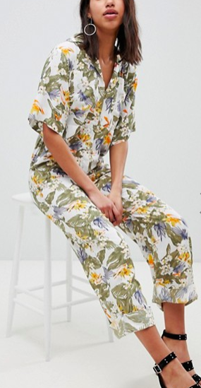 ASOS DESIGN Boilersuit In Tropical Print