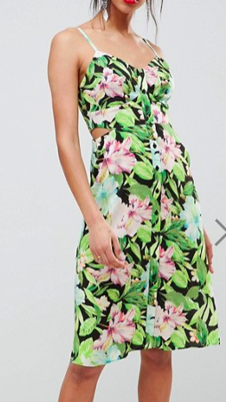ASOS DESIGN Button Through Cut Out Midi Sundress In Tropical Print