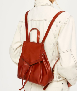Topshop Leather Triangle Flap Backpack