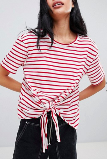 Pull&Bear Tie Front T-Shirt In Red Stripe