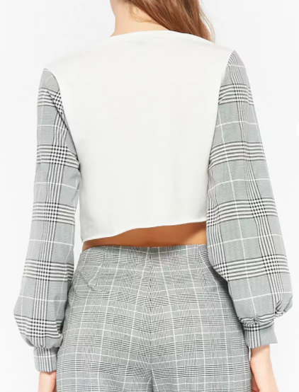 Forever 21 Plaid Sleeve Crop Top