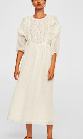 Mango Linen-blend long dress