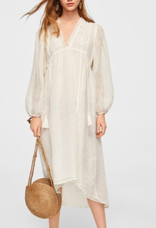 Mango Embroidery linen dress