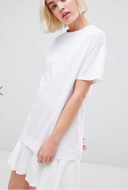ASOS DESIGN t-shirt dress with woven frill hem