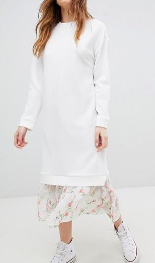 ASOS DESIGN midi dress with 2 in 1 floral mesh hem
