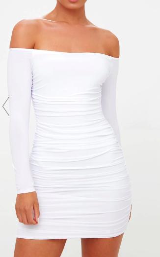 WHITE BARDOT RUCHED BODYCON DRESS