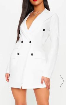 PLT WHITE POCKET DETAIL BLAZER DRESS
