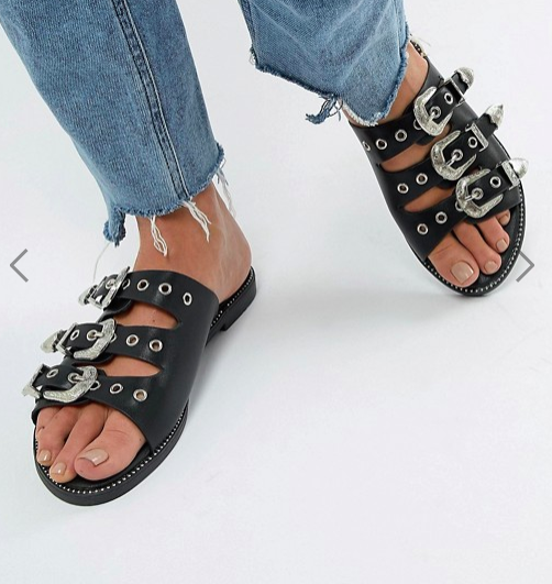 Boohoo Buckle Detail Flat Sandal