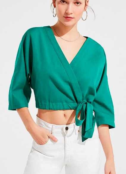 UO Kimmy Wrap Cropped Top