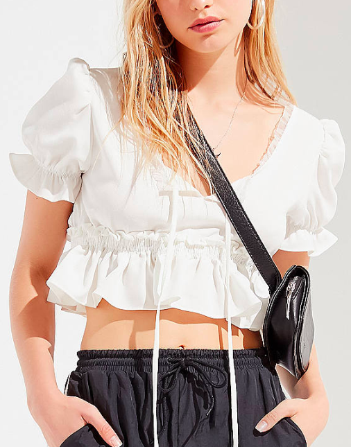 Lioness Ruffle Tie Cropped Top