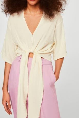 Mango Bow textured blouse