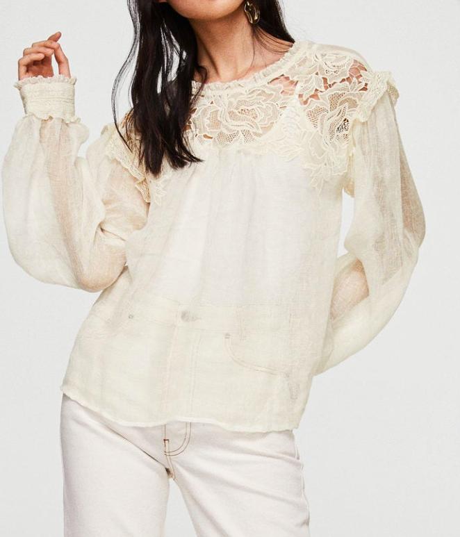 Mango Embroidered linen-blend blouse