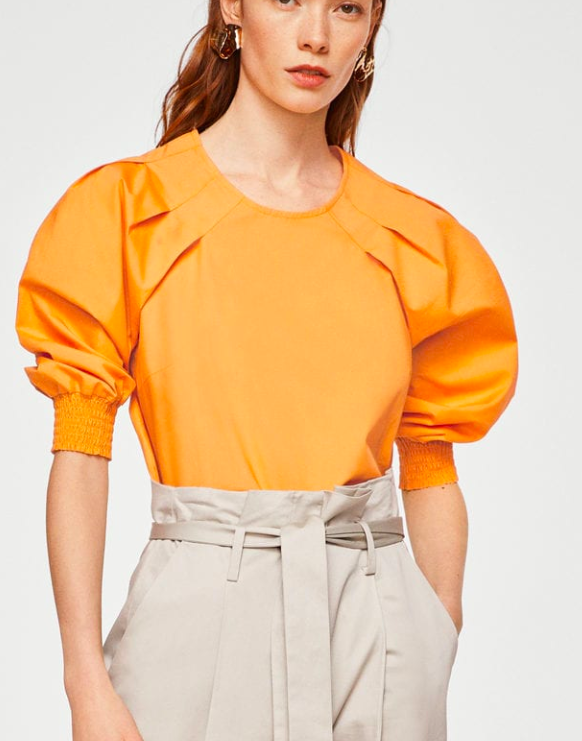MANGO Pleat detail blouse